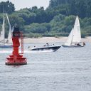 Elbe, sailboat, motor boat, buoy