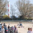 beach, Falkensteiner Ufer, car, tree, lighthouse