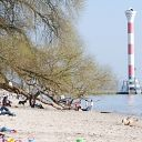 lighthouse, harbour ferry, beach, Elbe, willow tree