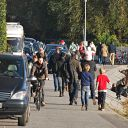 Falkensteiner Ufer, beach, car, bicycle, riding bicycle